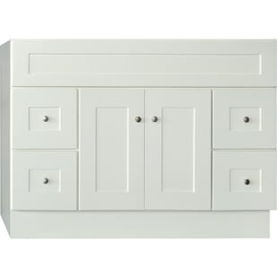 5024081 LINEN WHITE 48X21 SHAKER STYLE 2 DOOR 4 DRAWER VANITY BASE
