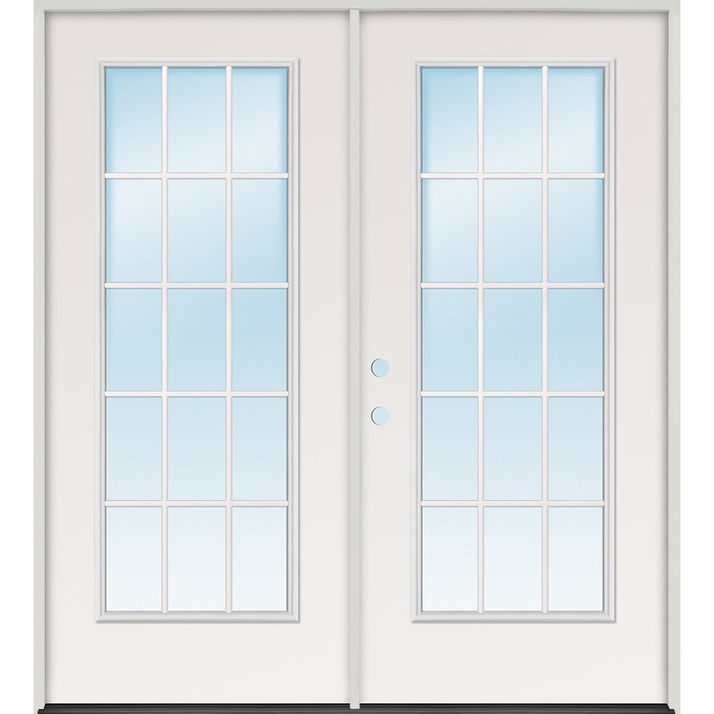 45320087 72 15 Lite Steel Prehung Exterior Double Door Unit  Right Hand