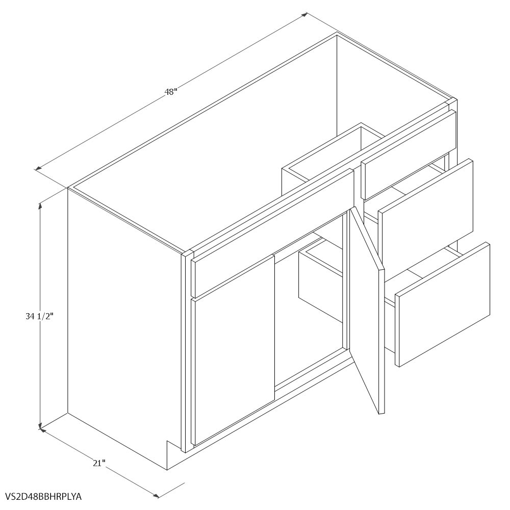 Unfinished Oak Vanity Sink 2 Drawer Right Cabinet Home Outlet