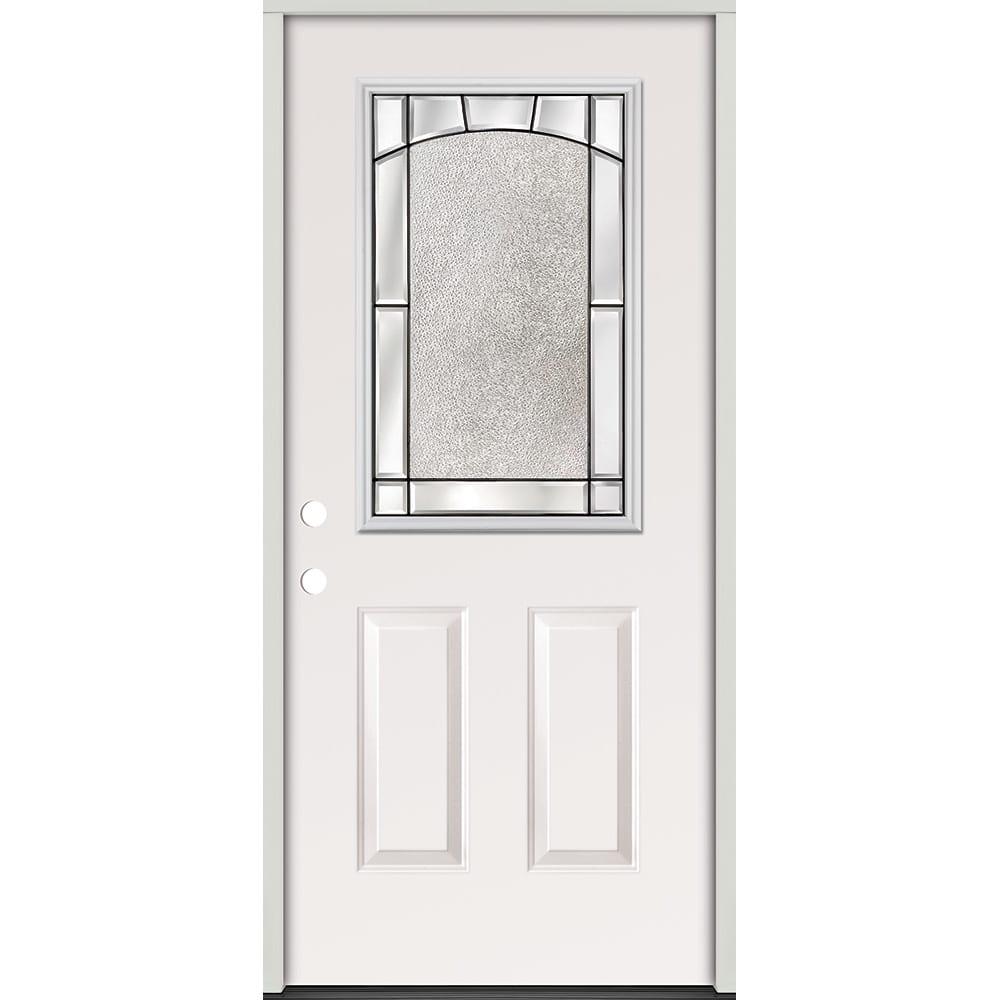 45320154 Half Glass Prehung Exterior Steel Door Unit  Right Hand