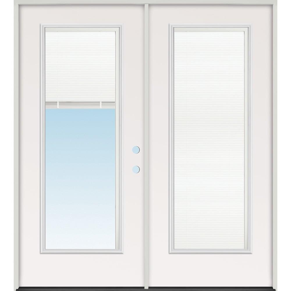 45320107 72 Mini Blind Prehung Exterior Steel Double Door Unit  Left Hand