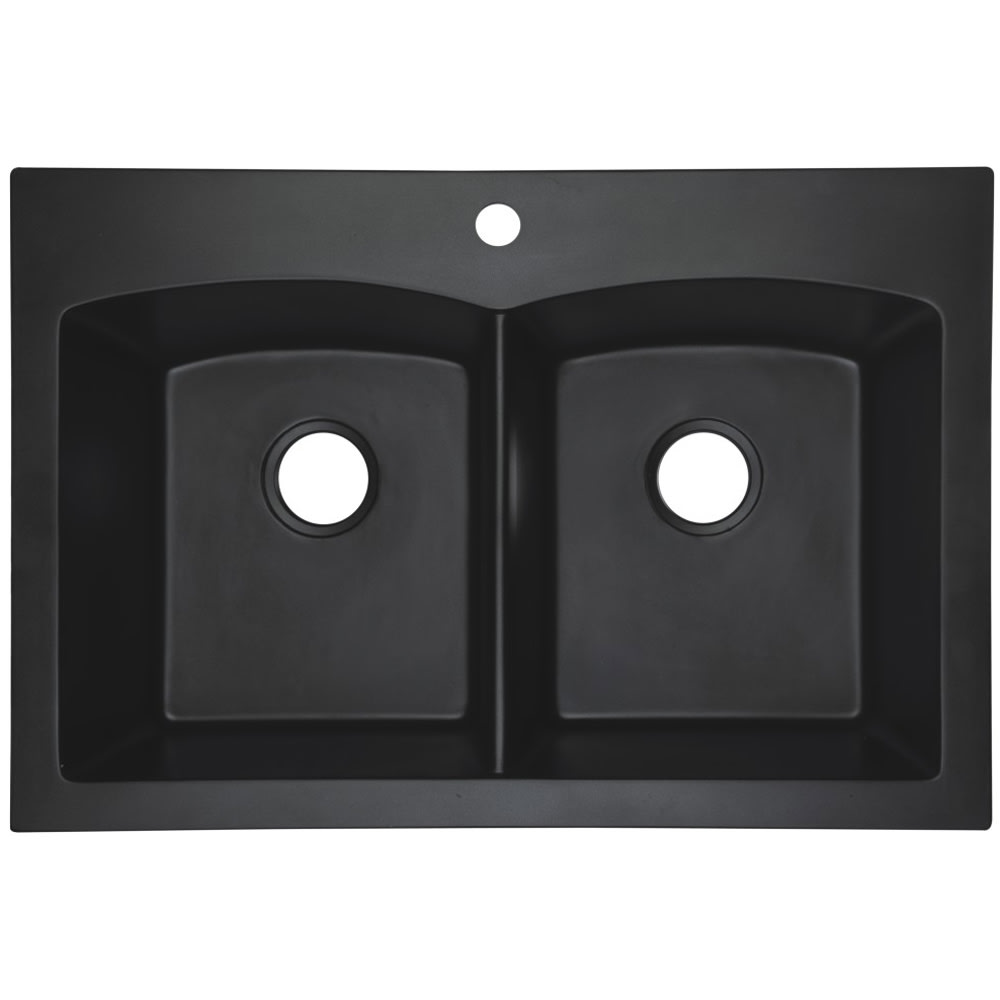 Black Dual Mount Granite Composite Kitchen Sink