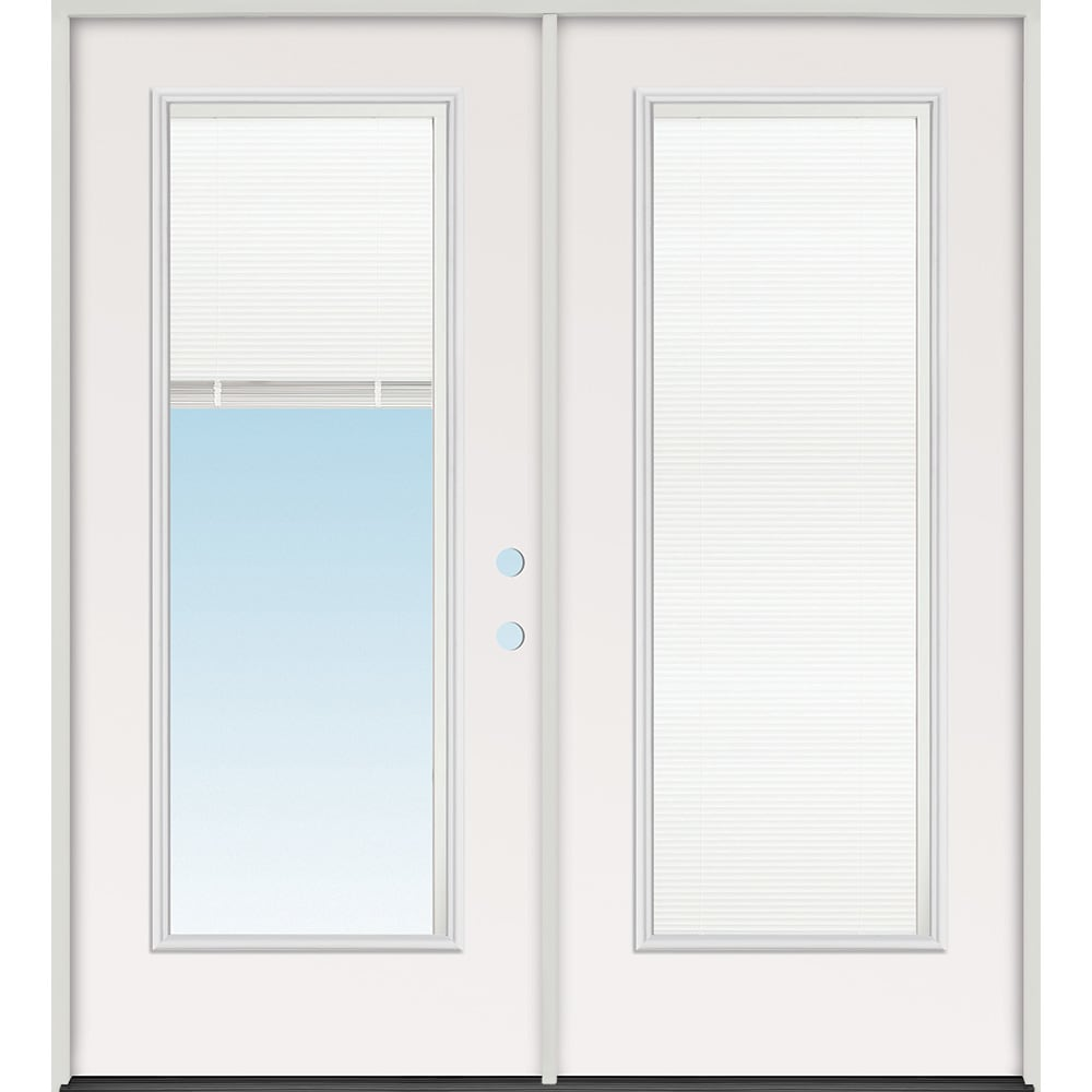 45320105 60 Mini Blind Prehung Exterior Steel Double Door Unit  Left Hand