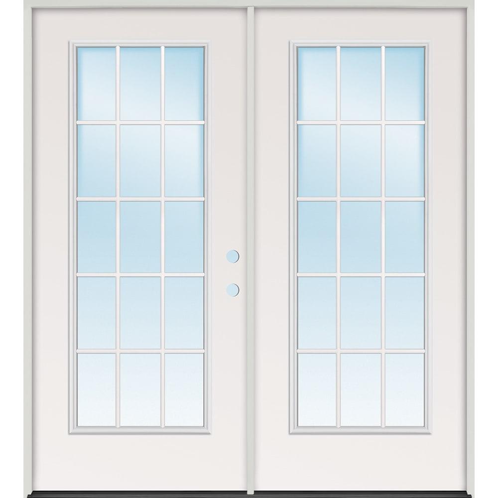45320084 60 15 Lite Steel Prehung Exterior Double Door Unit  Left Hand