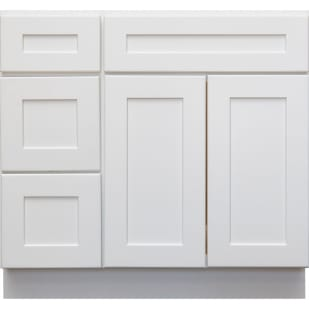 5053006 Heritage White Shaker 36 LH Vanity With Drawers
