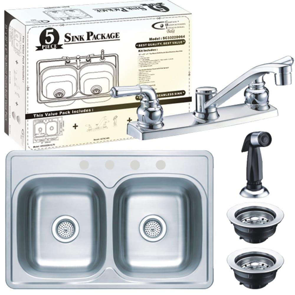 "33X22 6"" Deep Double Bowl Sink W/Faucet, Spray & Baskets"