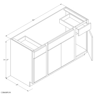 "Unfinished Oak 60"" Combination Sink Base Cabinet"