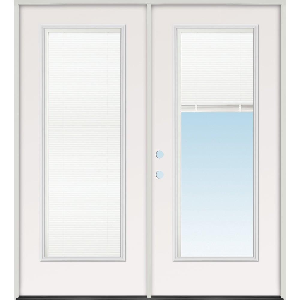 45320106 60 Mini Blind Prehung Exterior Steel Double Door Unit  Right Hand