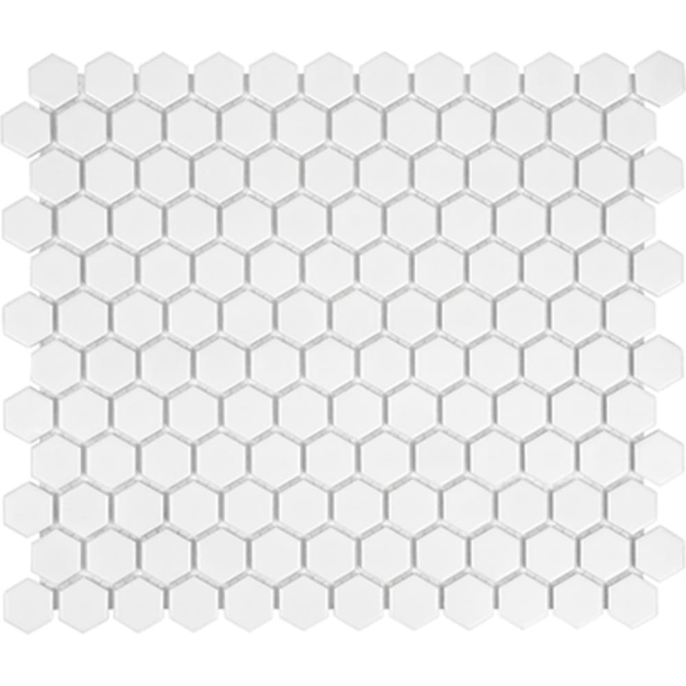 5534017 Soho 1 Matte White Hexagon Mosaic Tile