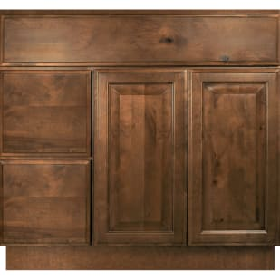 "Mocha Distressed 36"" Vanity Base With Drawers on Left"