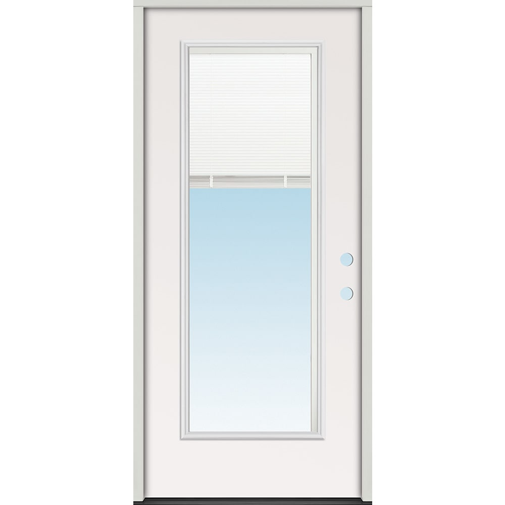 45320102 36 Full Lite Mini Blind Prehung Exterior Steel Door Unit  Left Hand