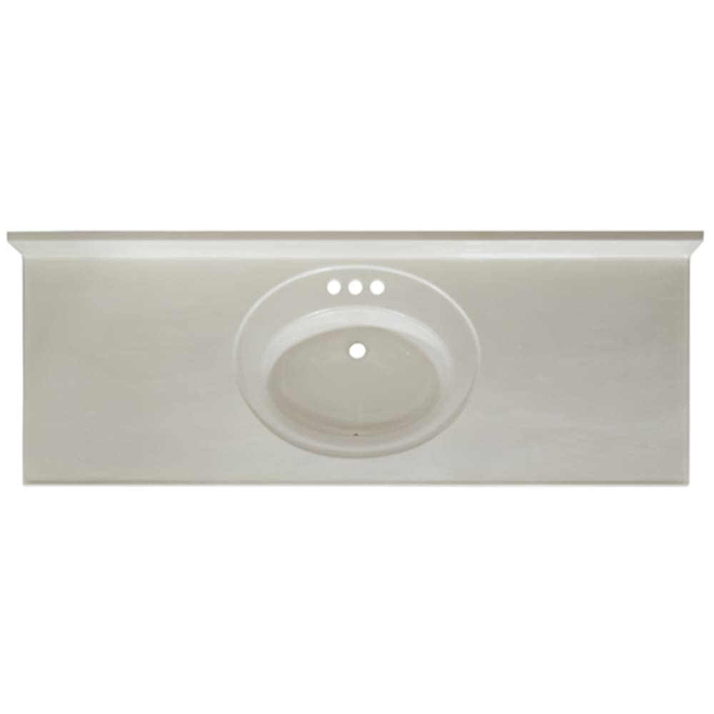 Solid White 61x22 Cultured Marble Vanity Top