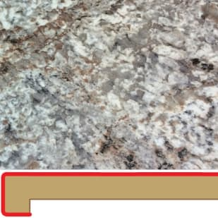 50160106 Bianco Romano 6  039  Post formed laminate counter top mitered left