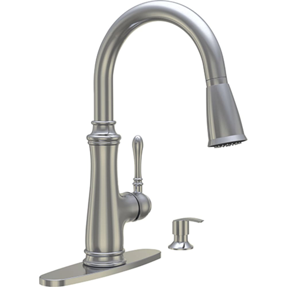 8021071 Brushed Nickel Lever Hi Arc Pulldown Kitchen Faucet w  Soap Dispenser