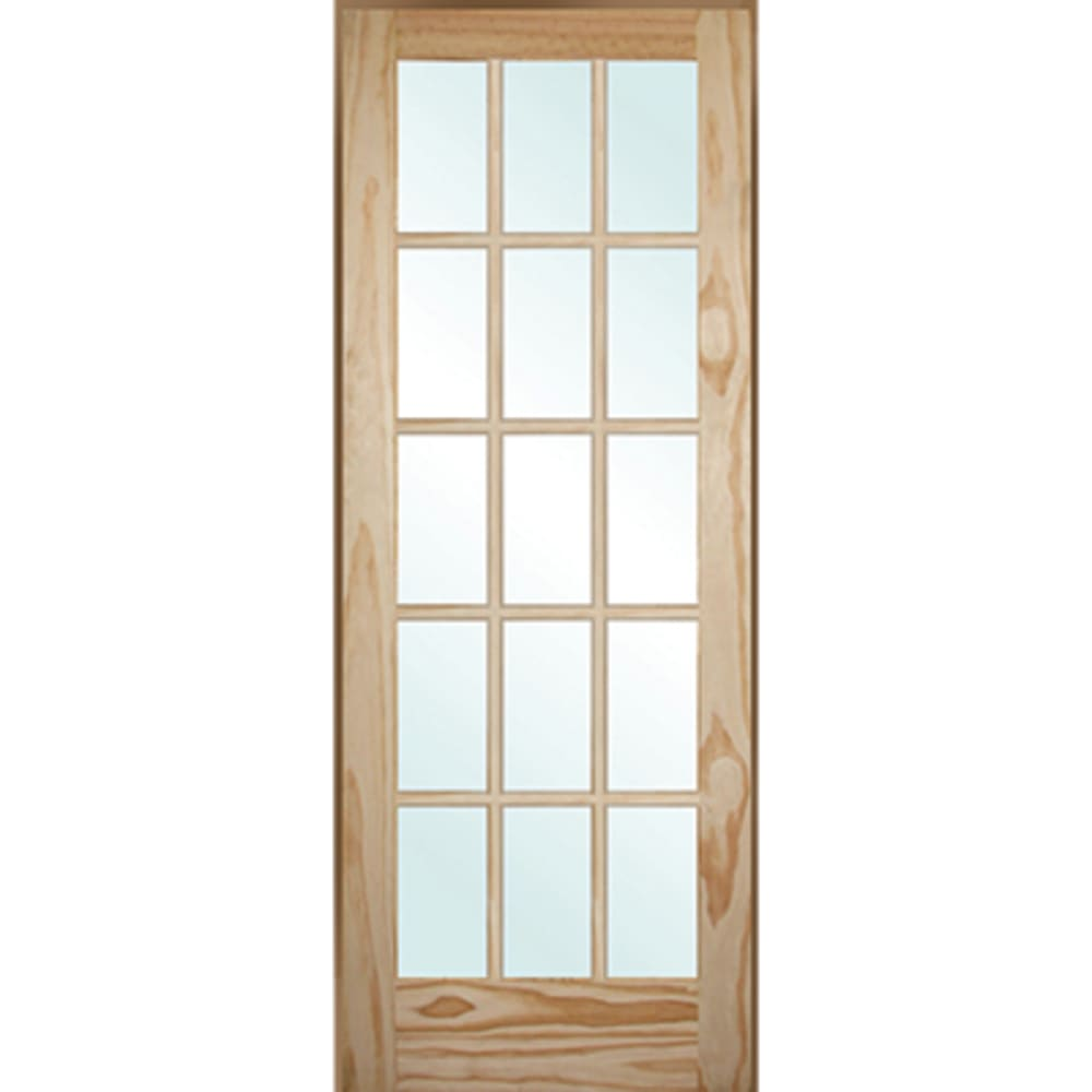 French 15 Lite Clear Pine 30 Interior Door Right Hand