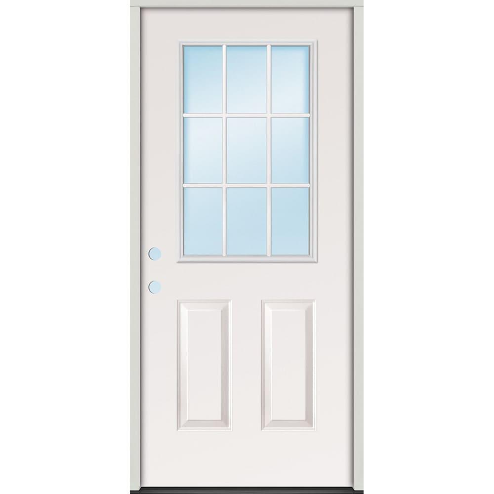 45320073 32 9 Lite Prehung Exterior Steel Door Unit  Right Hand