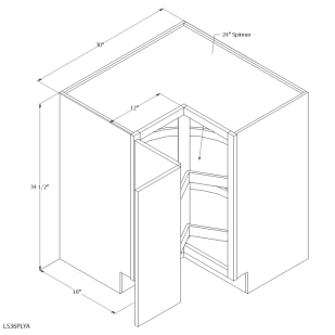 "Unfinished Oak 36"" Lazy Susan Base Cabinet"