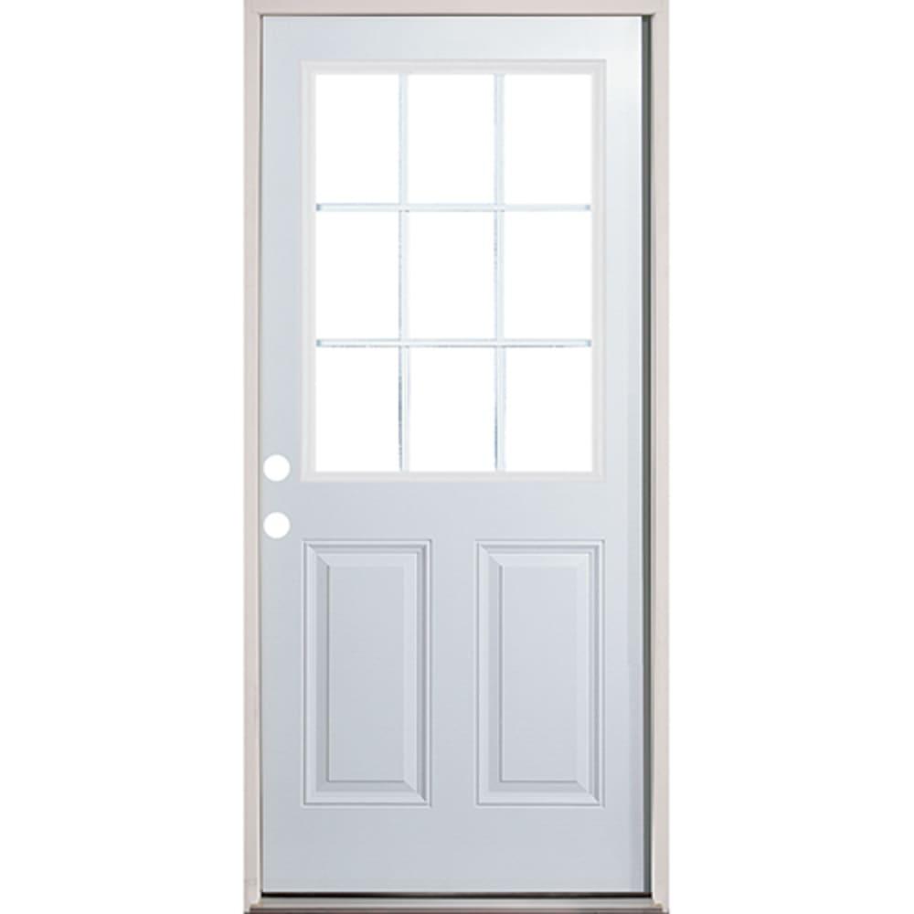 4532256 32 9 Lite Prehung Exterior Fiberglass Door Unit  Right Hand