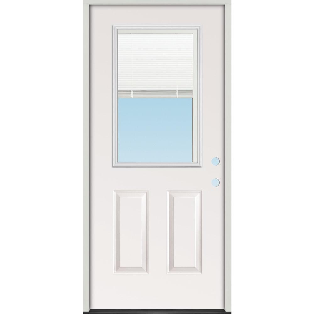 45320096 32 1 2 Lite Exterior Steel Door Unit with Mini Blinds Between the Glass  Left Hand
