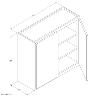 "Unfinished Oak 33""x30"" Wall Cabinet"