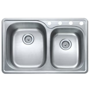 "33X22 9/7.5"" Double Bowl Offset Satin Stainless Sink"