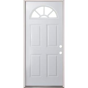 45320078 36 Fan Lite Prehung Exterior Steel Door Unit  Left Hand