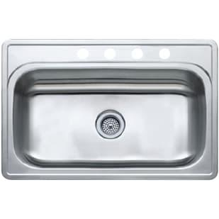 "33X22 9.5"" Deep Single Bowl Satin Stainless Steel Sink"
