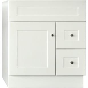 """30"""" x 21"""" GHI Linen White Shaker 1-door, 2-drawer Cabinet Vanity Base"""