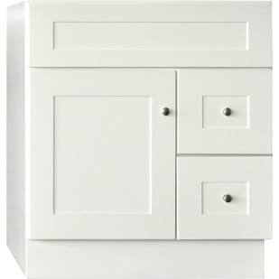 "30"" x 21"" GHI Linen White Shaker 1-door, 2-drawer Cabinet Vanity Base"