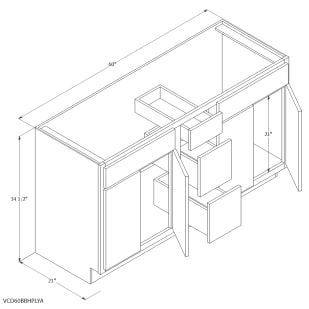 "Unfinished Oak 60""x21"" Vanity Cabinet with Center Drawers"