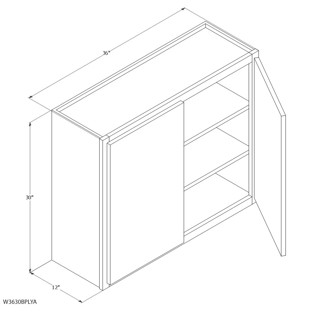 """Unfinished Oak 36"""" x 30"""" Wall Cabinet 