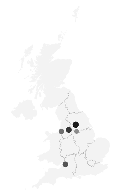 Map of the trending job locations in the UK