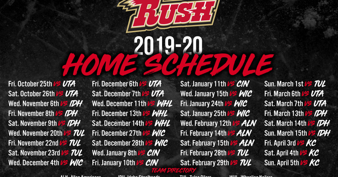 RUSH RELEASE 2019-20 HOME SCHEDULE