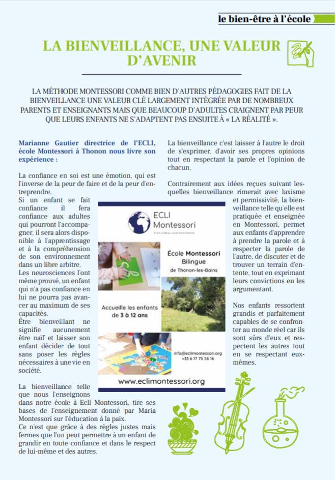Article de Mag'zen sur l'Ecole Montessori de Thonon-les-Bains