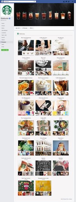 Starbucks Pinterest Feed on FaceBook