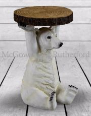 "Polar Bear Holding ""Trunk Slice"" Side Table"