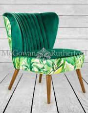 Tropical Green Velvet Style Winged Occasional Chair