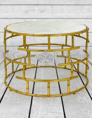 Gold Leaf Metal with White Marble Coffee Table