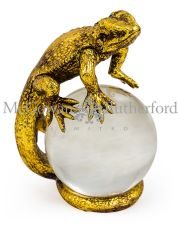 Gold Lizard on Crystal Ball Ornament