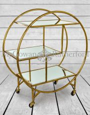 Antique Gold/Bronze Leaf Metal Bar Trolley with Mirror Shelves