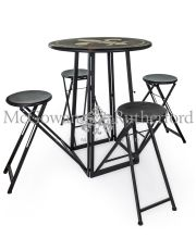 Antiqued Metal Folding 4 Seat Bar Table  *CLEARANCE ITEM*