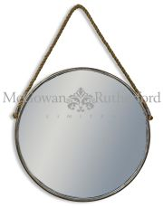 Rustic Metal Large Mirror with Rope