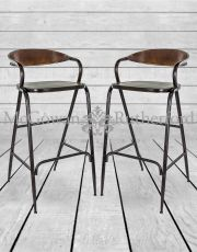 Pair of Rustic Metal Bar Stools