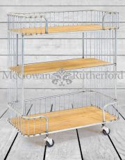 Antiqued Metal and Wood Shelving Unit