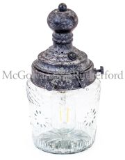 Antiqued Iron and Glass LED Lantern Lamp (USB Rechargeable)