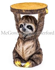 "Sloth Holding ""Trunk Slice"" Side Table"