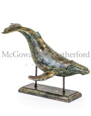 Large Bronze Effect Whale on Stand