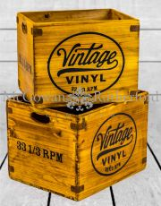 "Set of 2 Antiqued Wooden ""Vintage Vinyl"" LP Record Storage Boxes"