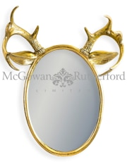 Gold Leaf Oval Stag Horn Wall Mirror