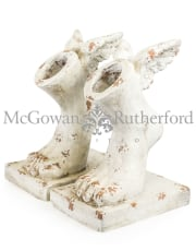 Set of 2 Rustic Stone Effect Winged Foot Planters